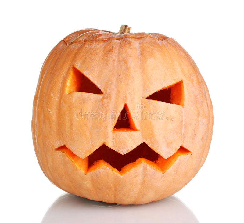 Halloween Pumpkin. Over the white royalty free stock photo