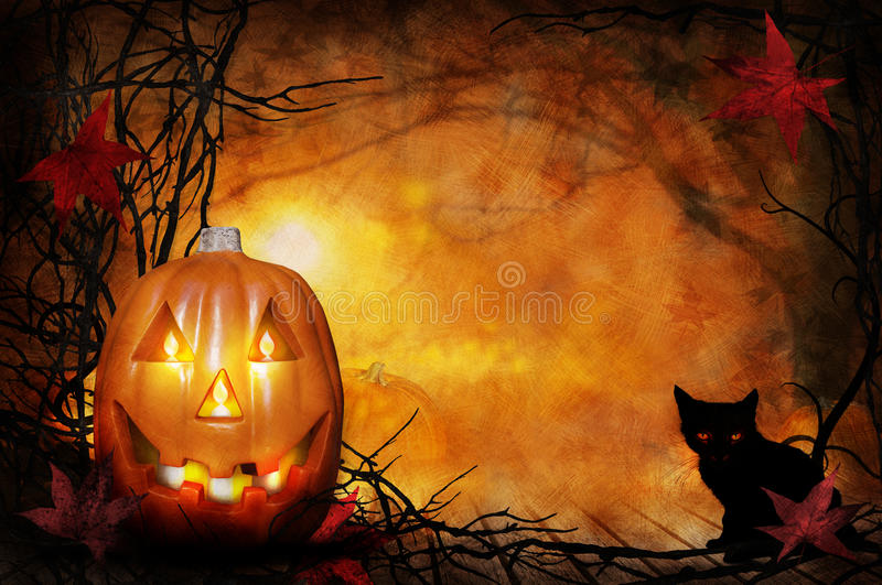 Halloween Pumpkin. A large Halloween pumpkin with a toothy smile lit with candles and glowing as it sits on a wooden deck sourrounded with bar branches and a