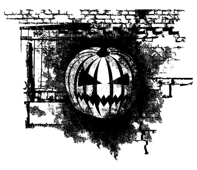 Halloween Pumpkin. Vector scary Halloween grunge Pumpkin with bricks vector illustration