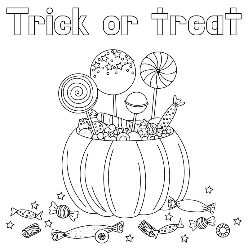 Free Halloween Pumpkin And Candies Doodle Coloring Book Page. Antistraess For Adult And Children`s. Vector Illustration Royalty Free Stock Photography - 192787267