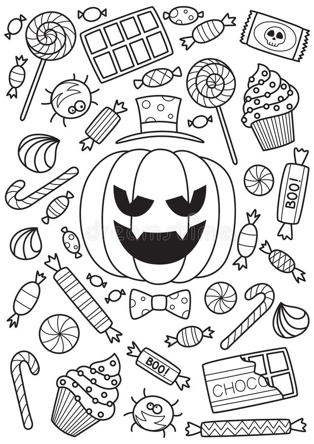 Free Halloween Pumpkin And Candies Doodle Coloring Book Page. Antistraess For Adults Royalty Free Stock Images - 190049889