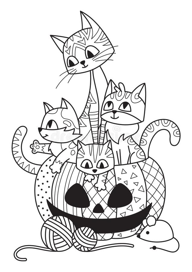 Free Halloween Pumpkin And Cats Doodle Coloring Book Page. Antistress For Adults. Outline Black And White Illustration Stock Photos - 196356473