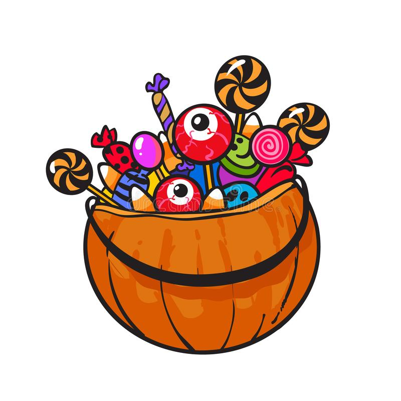 Halloween Pumpkin Basket with Candies in cartoon style. Hand drawn vector. royalty free illustration
