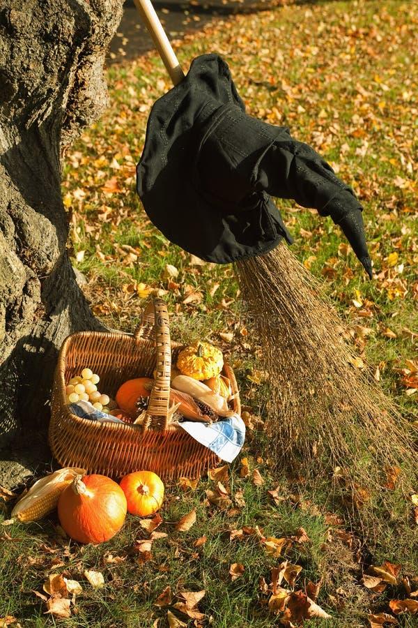 Halloween Pumpkin Basket And Hat Stock Photography