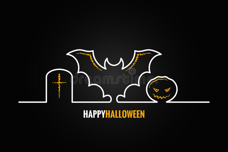 Halloween pumpkin bat design background royalty free illustration