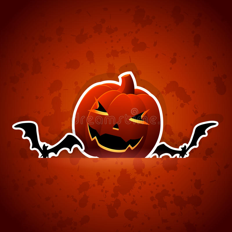 Halloween pumpkin and bats vector illustration