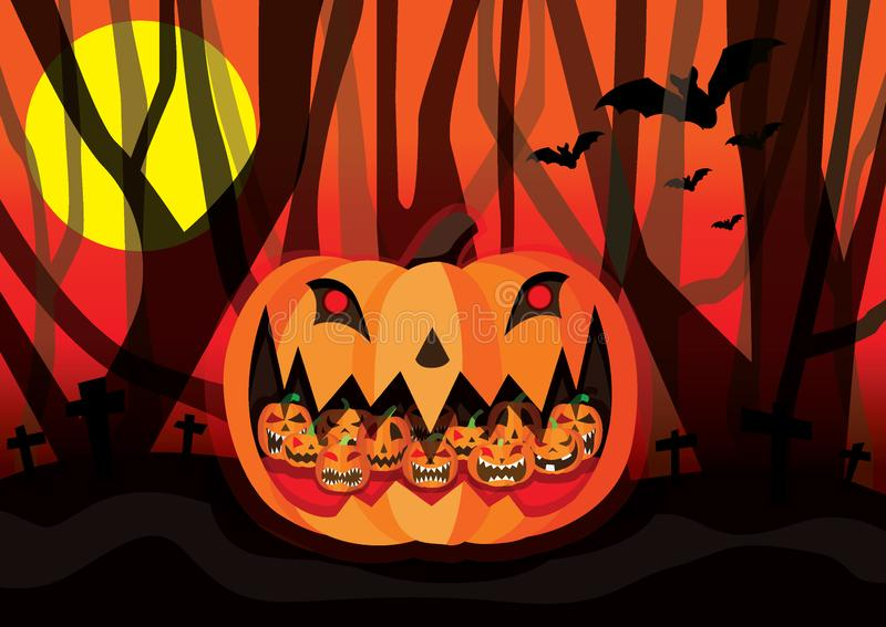 Halloween Pumpkin bats with the moon and the dark forest stock illustration