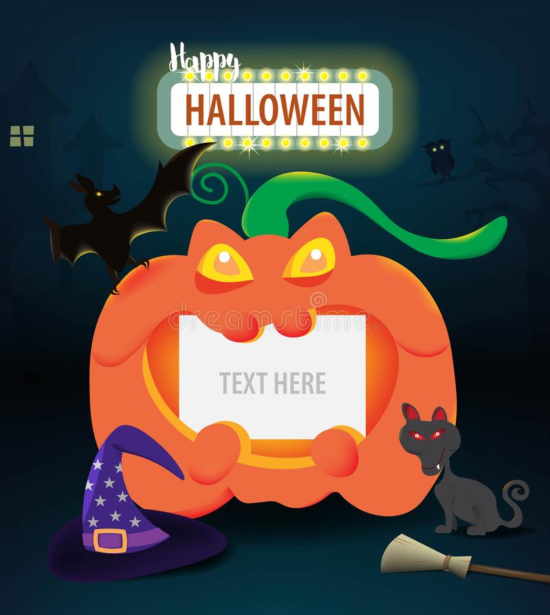 Halloween pumpkin with blank paper for text decoration in the dark night,Halloween day celebration concept. vector illustration