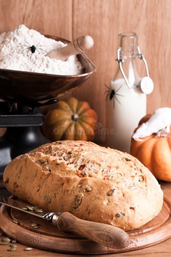 Halloween Pumpkin Bread Stock Photography