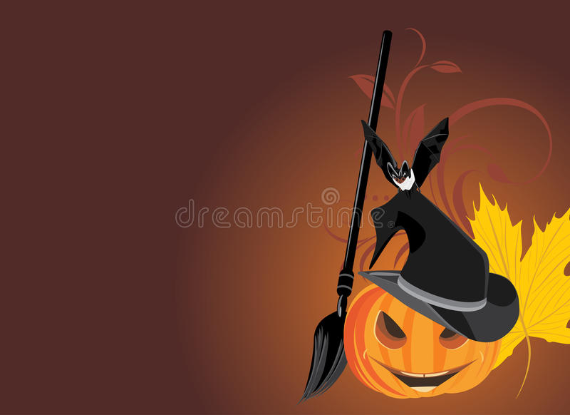 Halloween pumpkin with broom and bat. Banner stock images