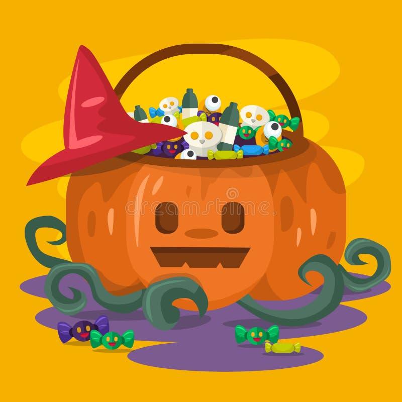 Halloween pumpkin bucket with candies and cookies inside. Happy halloween. Background, card, poster vector illustration vector illustration