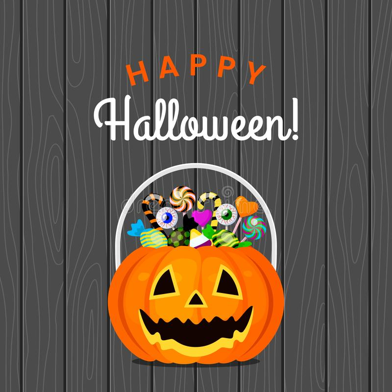 Halloween pumpkin bucket with candies different sweets on a wooden background. vector illustration
