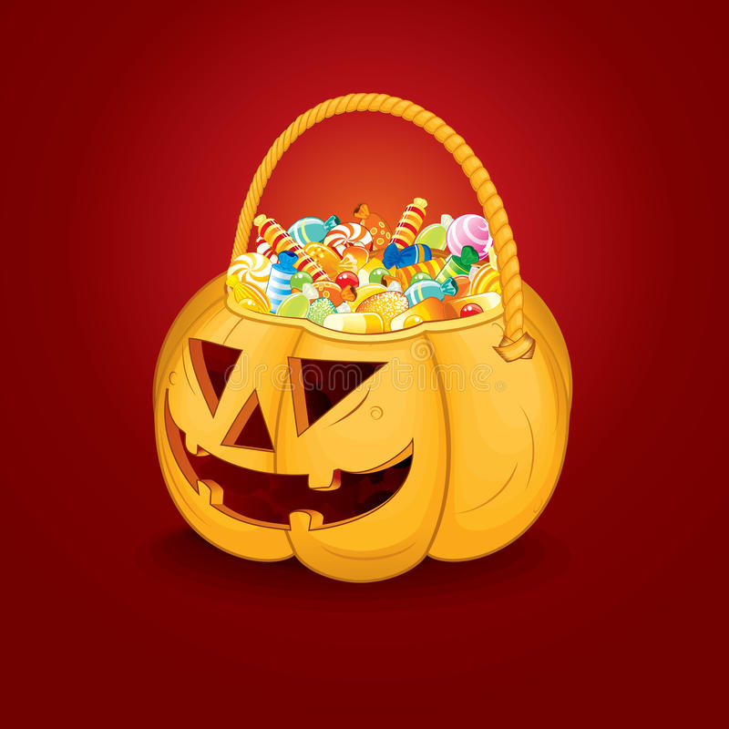 Halloween Pumpkin Bucket with Candy. Vector vector illustration