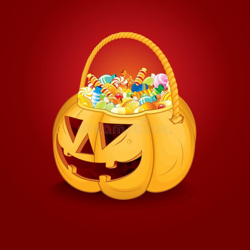 Halloween Pumpkin Bucket with Candy. Vector royalty free illustration