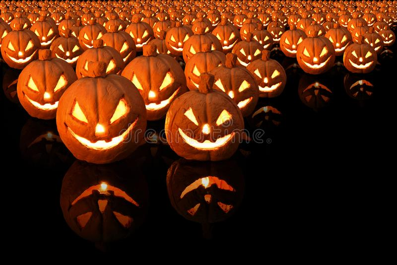 Halloween pumpkin with burning candles on black background stock image