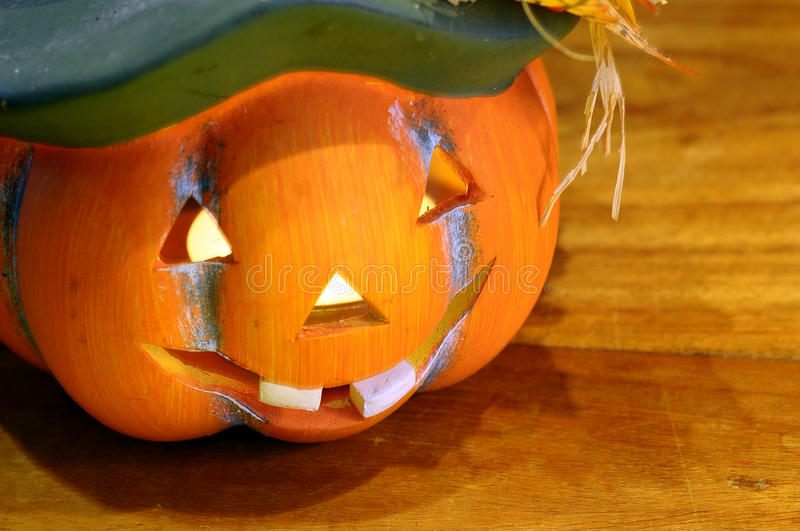 Halloween pumpkin. And candles light royalty free stock images