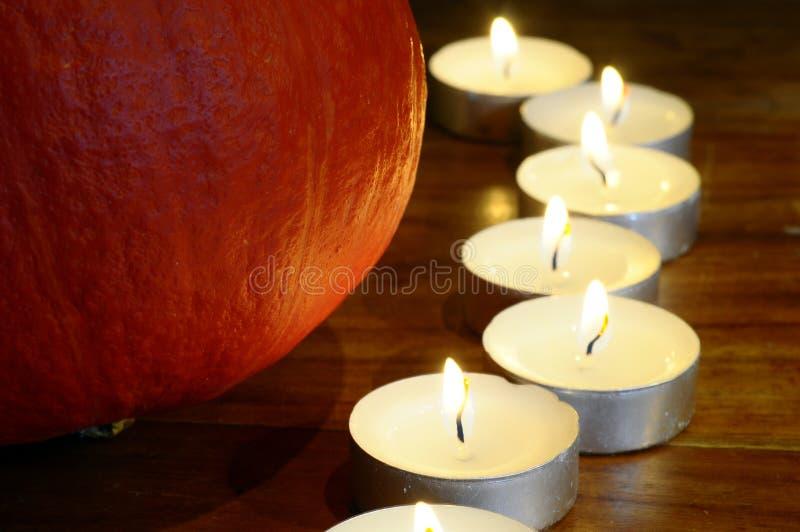 Halloween pumpkin. And candles light stock image