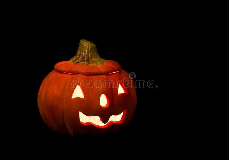 Halloween pumpkin candlholder stock image
