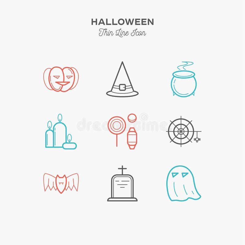 Halloween, pumpkin, candy and more, thin line color icons set stock illustration