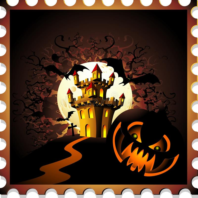 Download Halloween Pumpkin And Castle Stamp Stock Photo - Image of scary, magic: 76002262