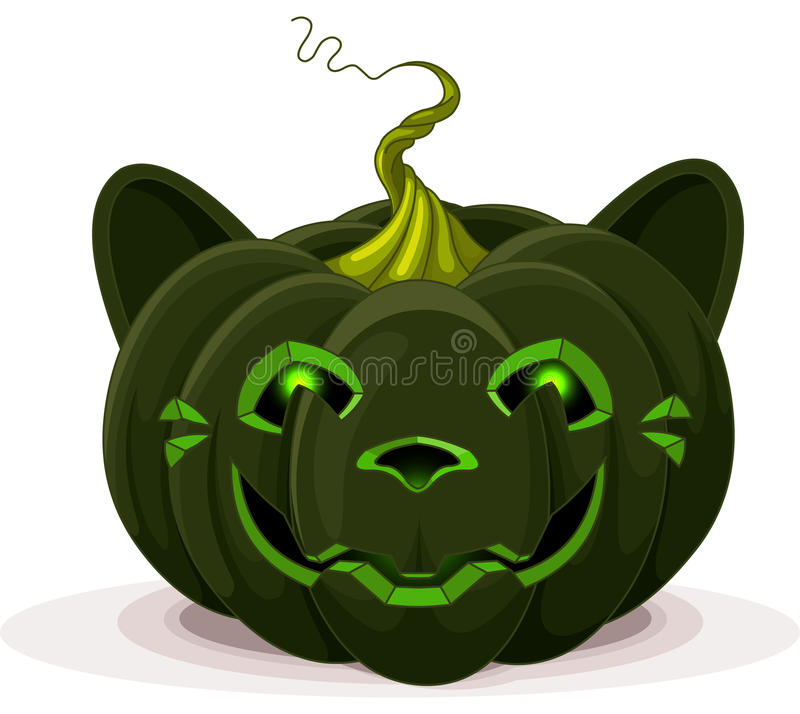 Halloween Pumpkin Cat Royalty Free Stock Images