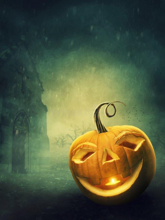 Halloween Pumpkin. At the cemetery vector illustration