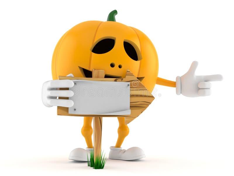 Halloween pumpkin character with wooden arrow sign stock illustration