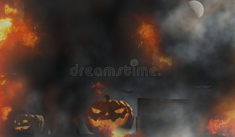 Halloween pumpkin coffin graveyard with halloween grave cross an vector illustration