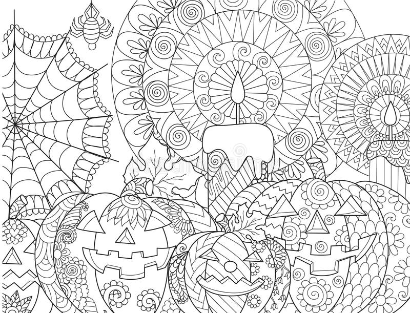 Halloween Pumpkin Coloring Stock Vector. Illustration Of