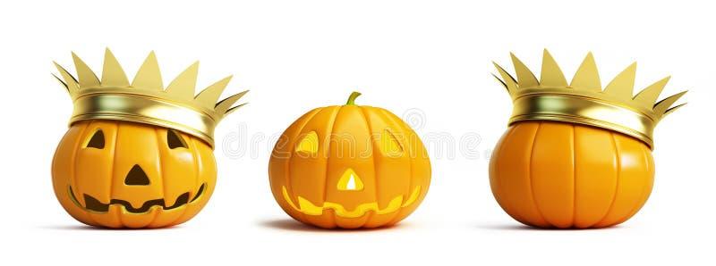 Halloween pumpkin crown on a white background 3D illustration, royalty free illustration