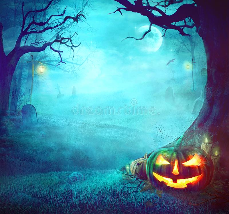 Halloween Spooky Background. Halloween Pumpkin in Dark Forest. Halloween Background. Halloween Pumpkin with Graveyard royalty free stock images