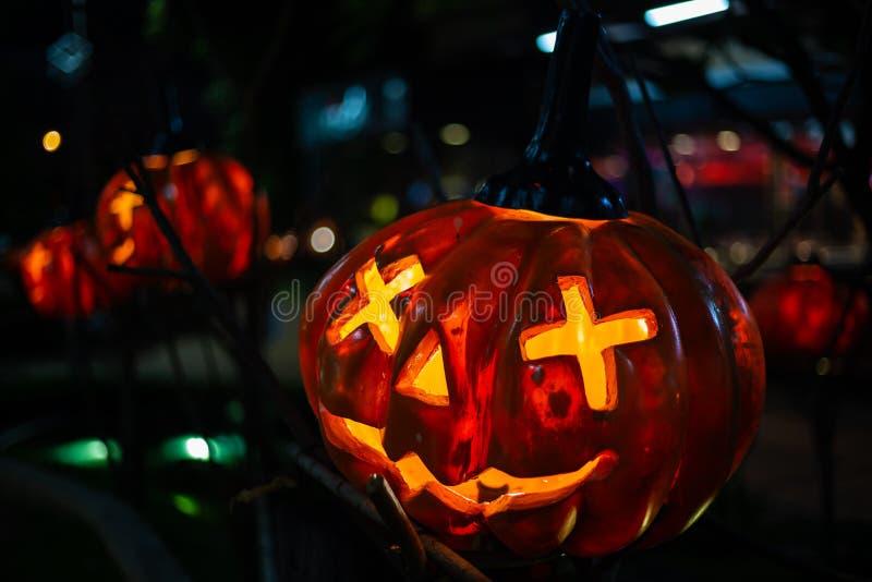 Halloween Pumpkin decorations In the garden for Halloween. royalty free stock photo