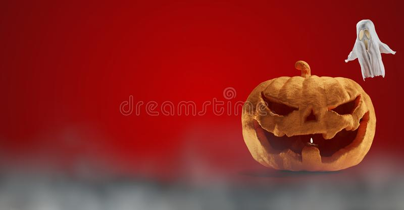 Halloween pumpkin design red background 3d-illustration royalty free illustration