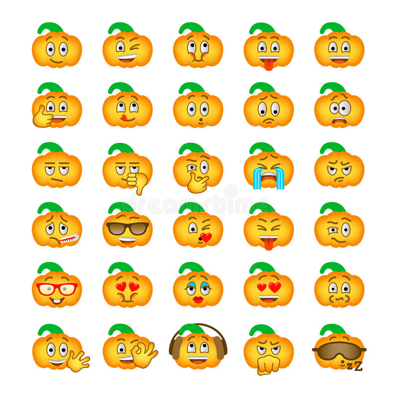 Halloween Pumpkin Emoji Emoticons Stock Vector Illustration Of
