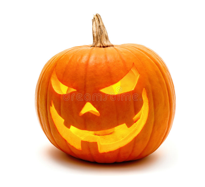 Halloween pumpkin with evil grin royalty free stock photography