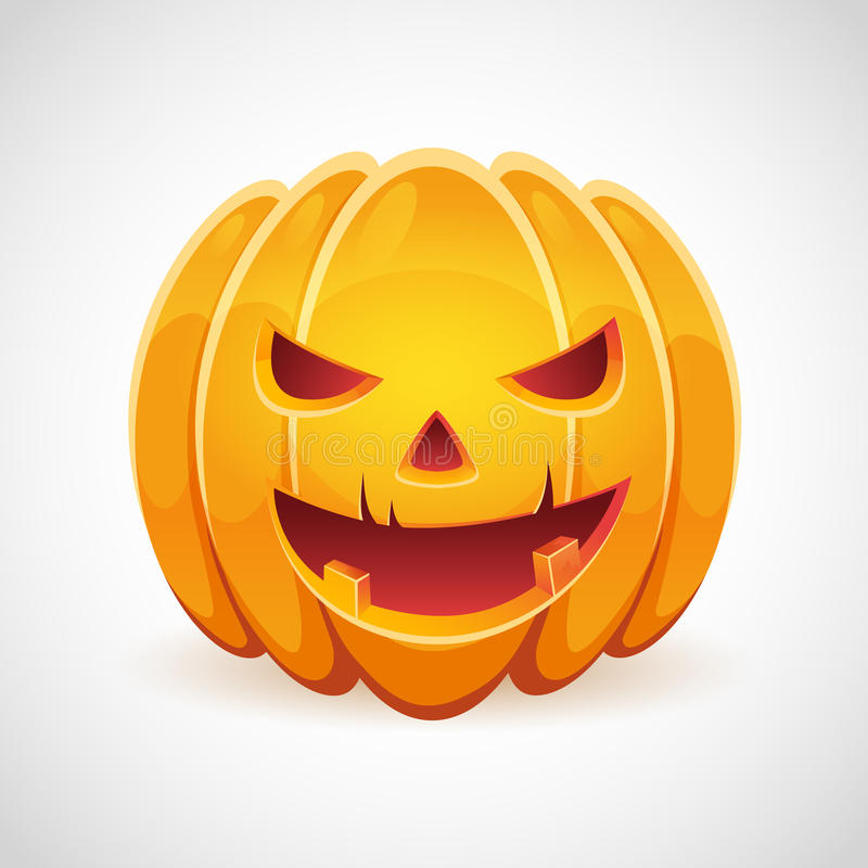 Download A Halloween Pumpkin With Evil Smile Card Stock Illustration - Image: 32431162