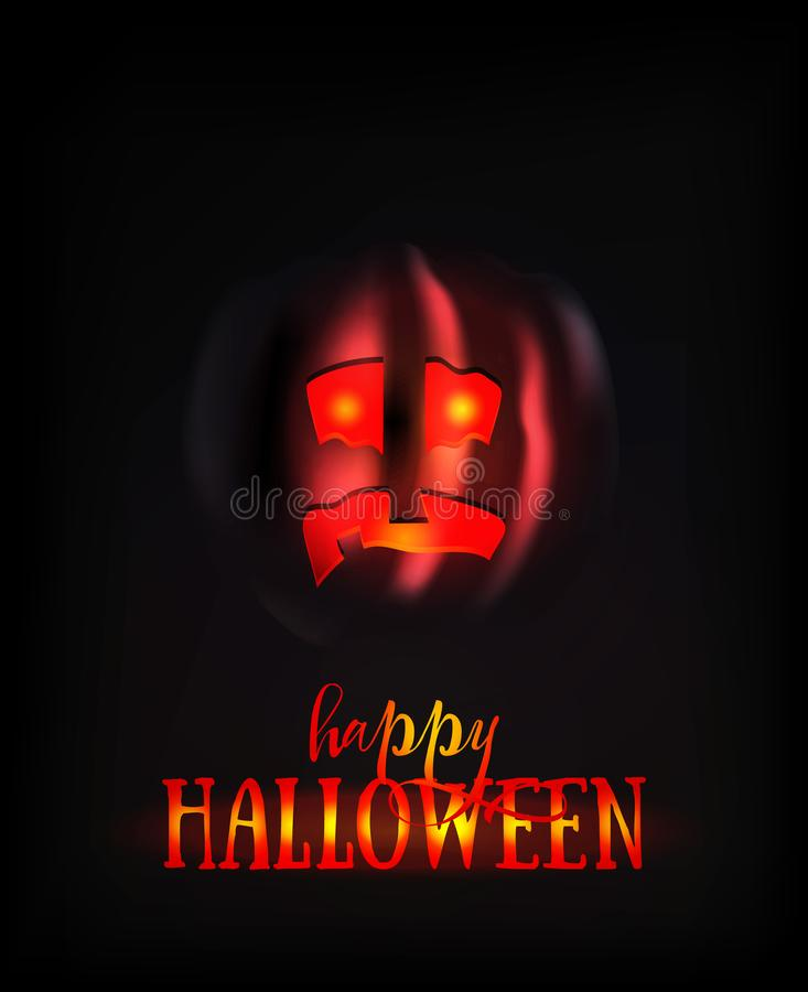 Halloween Pumpkin Face Scary Smile on Dark. Spooky Ghost Smiley Horror Character. Lantern with Glowing Eyes at Night. vector illustration