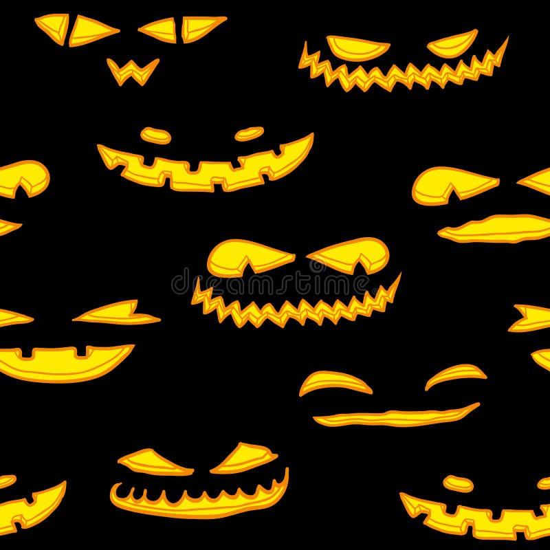 Halloween pumpkin faces pattern stock illustration
