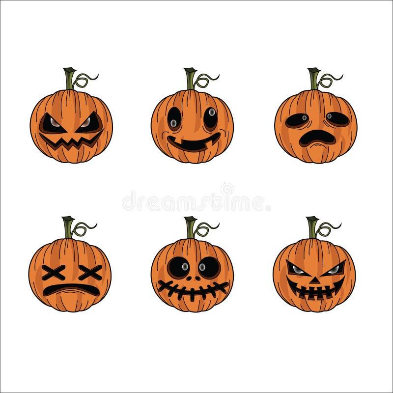 Halloween pumpkin feeling faces stock images