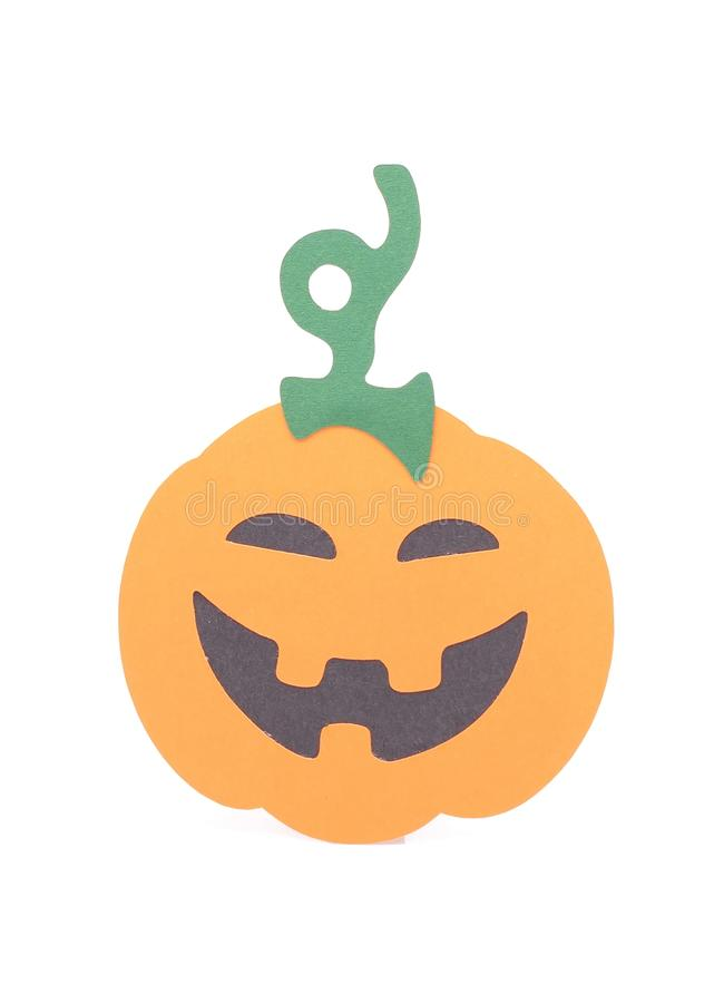 Halloween pumpkin figurine. On white background royalty free stock photo