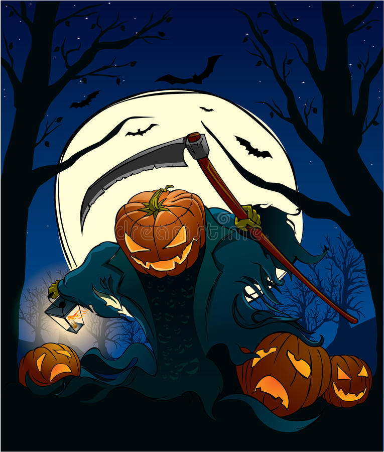 Halloween pumpkin flying over the cemetary with. Illustration of halloween pumpkin flying over the cemetary with a lantern vector illustration