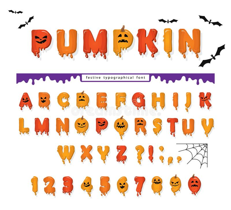 Halloween pumpkin font. Cute colorful letters and numbers with cpooky creepy faces. Cartoon funny alphabet for kids. Vector illustration stock illustration