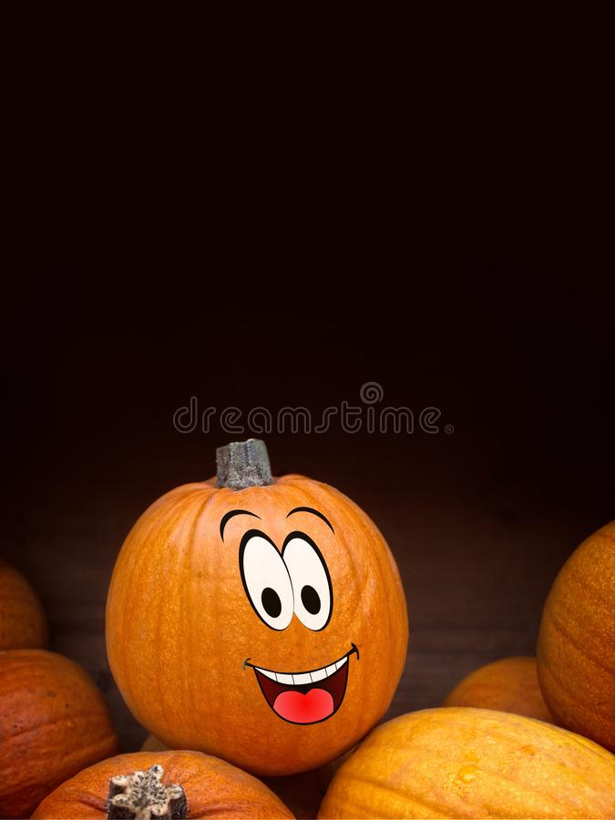 Pumpkin with a funny cartoon face. Halloween pumpkin with a funny cartoon face - vertical image with copy space stock images