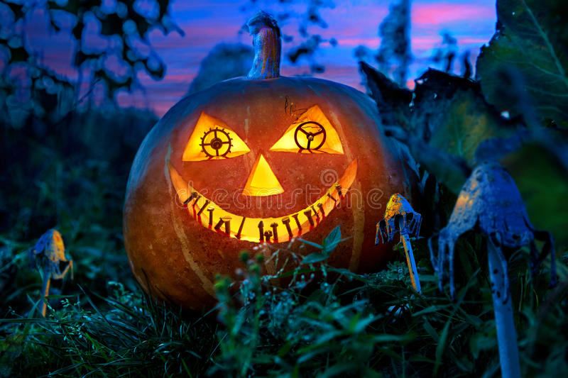 Halloween pumpkin in the garden at night with the eyes of the gears of the clock with the teeth of the metal parts. Between the fabulous fungi royalty free stock photography