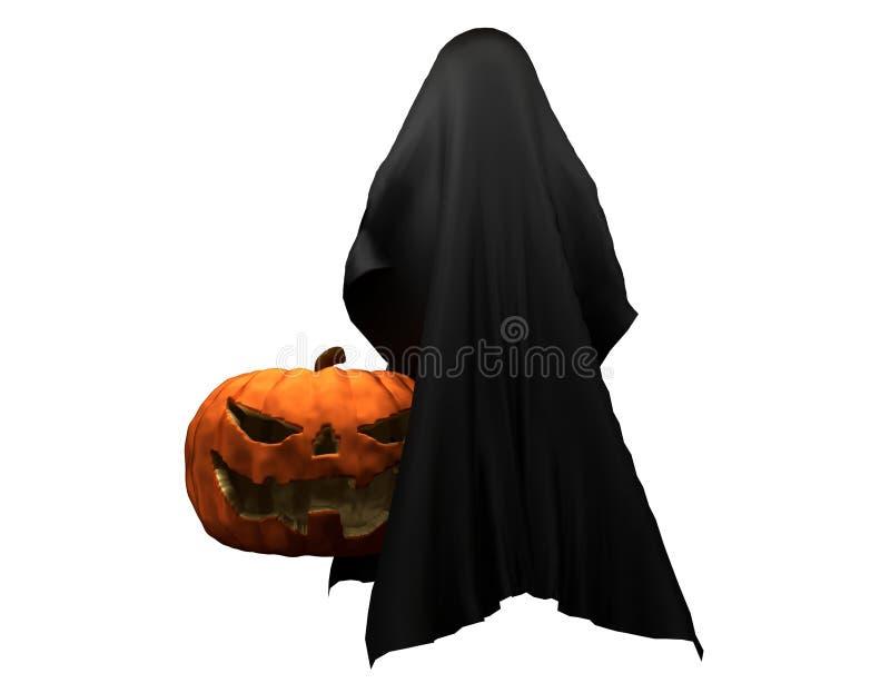 Halloween pumpkin with ghost creature horror halloween 3d illustration vector illustration