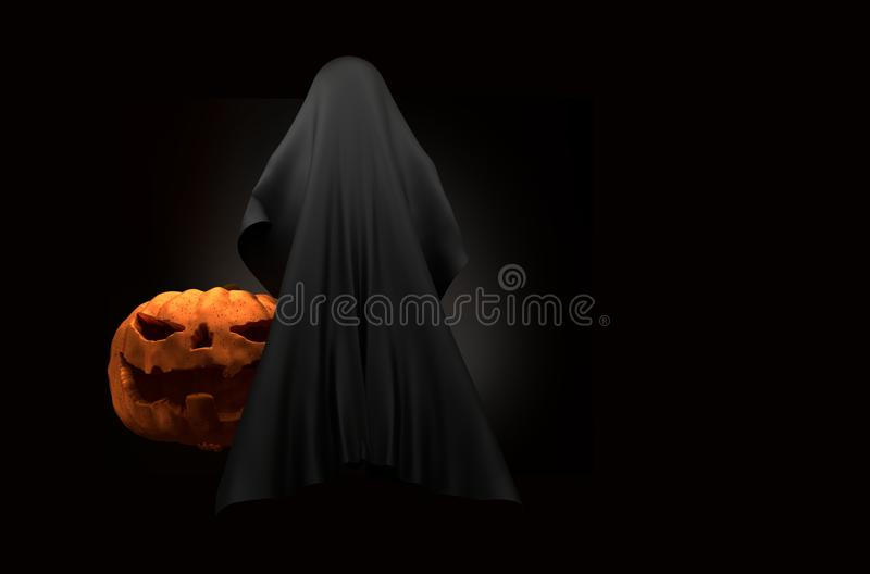 Halloween pumpkin with ghost creature horror halloween 3d illustration stock illustration