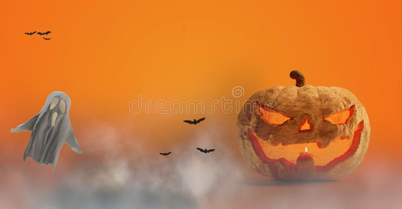 Halloween pumpkin and ghost and fog 3d-illustration royalty free illustration