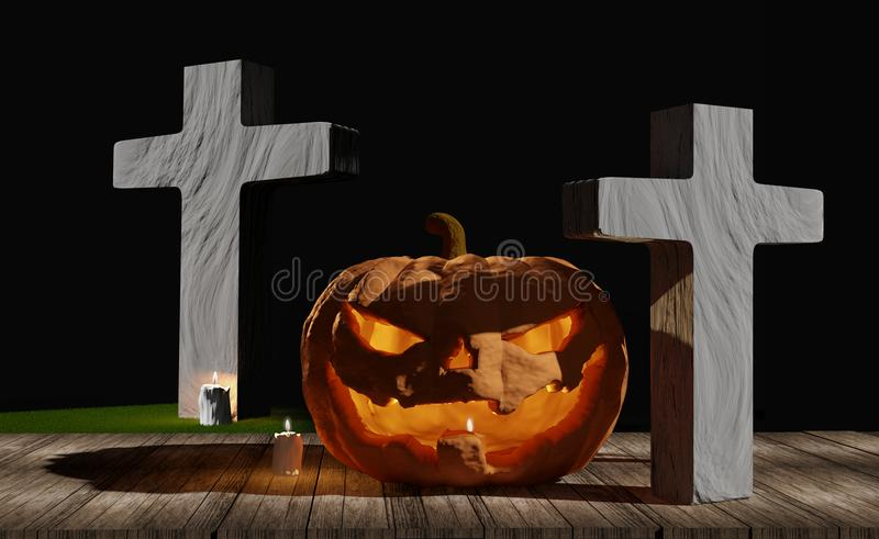Halloween pumpkin and grave on wood planks with halloween candle stock illustration