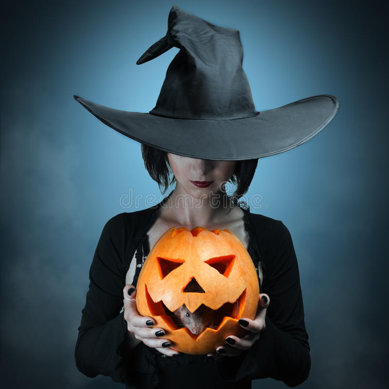 Halloween pumpkin and gray mouse royalty free stock photo