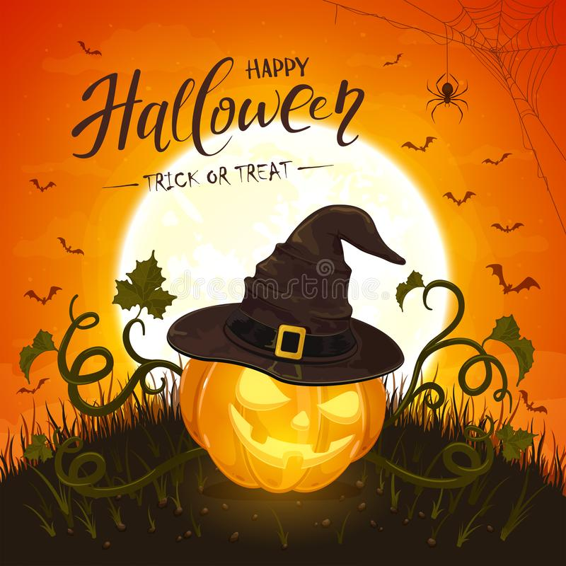 Halloween Pumpkin with Hat of Witch on Orange Background stock illustration